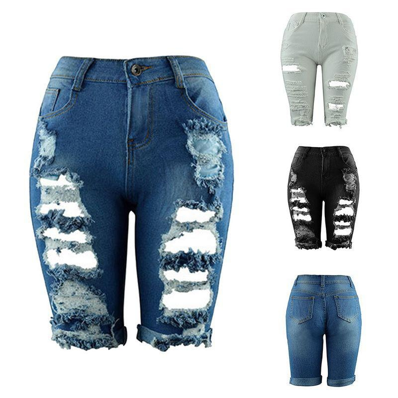 Mulheres verão meia comprimento jeans cintura média rasgado buraco estiramento fino rasgado mulher nova moda streetwear denim shorts