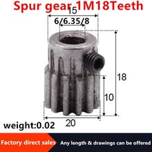 2Pcs 1Modulus=1M  18Teeth Spur Gear Metal Motor Boss/Convex Gear Inner Hole6/6.35/8mm Gear Rack Transmission
