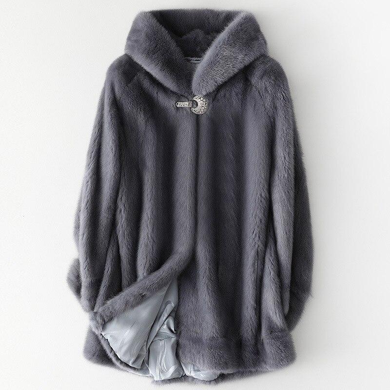 موضة فرو منك كامل معطف جاكيتات أنثى المرأة مقنعين سميكة الدافئة الفراء أبلى يندبروف معطف فضفاض 2021 جديد