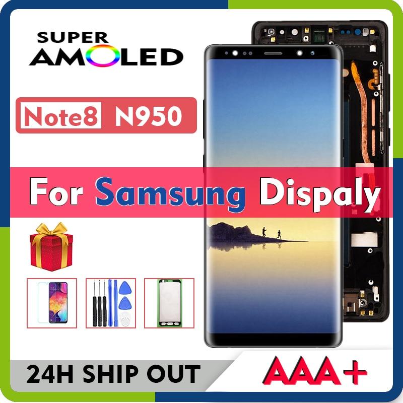 سوبر AMOLED لسامسونج غالاكسي نوت 8 N950F N950U N950 N950U1 N950N N950W SC 01 LCD عرض مع شاشة تعمل باللمس محول الأرقام الجمعية