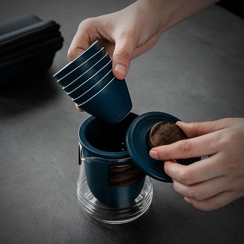 بسيطة ومحمولة السيراميك الزجاج الكونغ فو إبريق الشاي والبامبو مشبك طقم شاي السفر