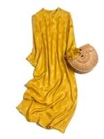 shuchan yellow poplin women dresses summer 2021 long sleeve ladies long dresses for summer chinese style mid calf