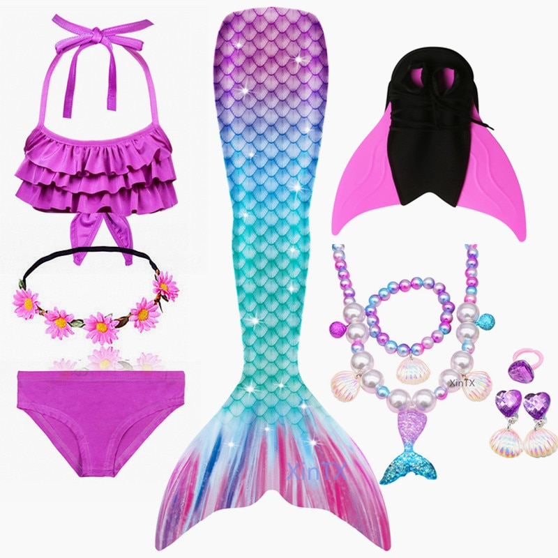 AliExpress - 2020 NEW Arrival Rainbow Pink Mermaid Tail Swimsuit with Fin for Kids Girls Holiday Dress Costume Bathing Suit