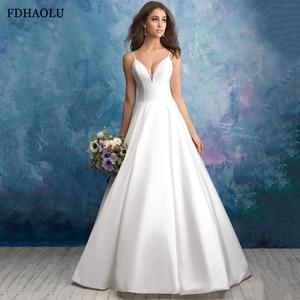 FDHAOLU FU21 Princess Wedding Dresses Satin Sleeveless White Wedding Bride Dresses Court Train Wedding Gown Vestido de novia