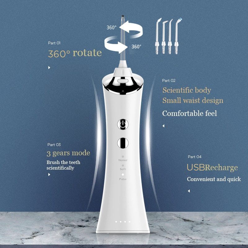 Waterpulse V300g With 4 Tips Electric Oral Irrigator Water Dental Flosser 150ml Capacity Oral Hygiene For Family enlarge