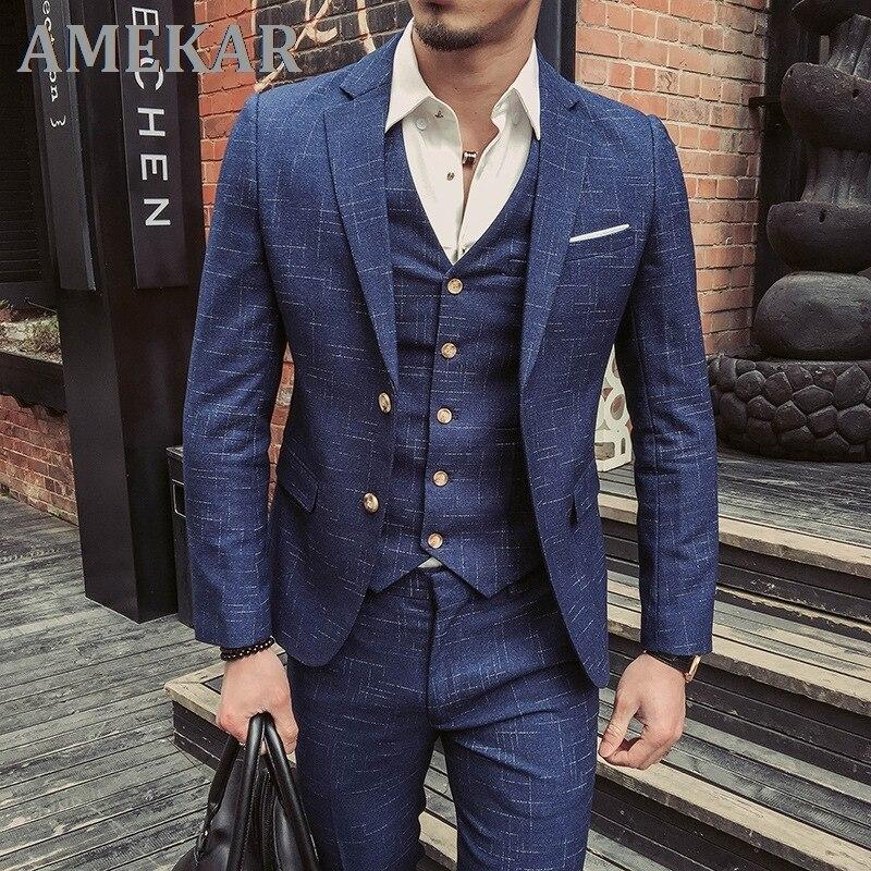 (Jacket+Vest+Pants) Mens Wedding Suit Male Blazers Slim Fit Suits for Men Costume Business Formal Pa