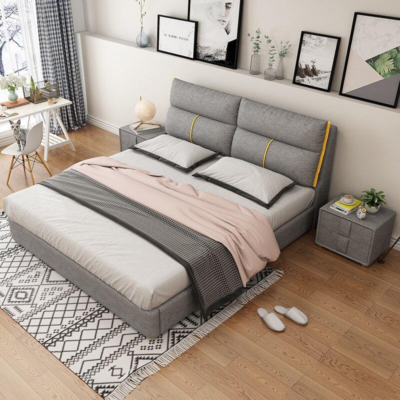Cama de tela nórdica para dormitorio principal, cama doble de 1,8 m,...