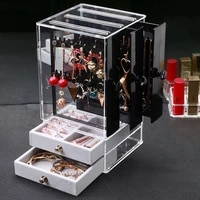 storage organizer jewelry box earring display stand bracelet necklace rack flannel drawer type large capacity