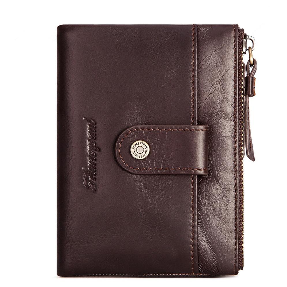 Men's Retro Genuine Leather Wallets Quality RFID Blocking Double Zipper Hasp Short Wallet Leisure Co