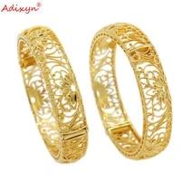 adixyn 2pcslots dubai gold bangles for women copper jewelry ethiopian bracelets african arab nigeria gifts n10269