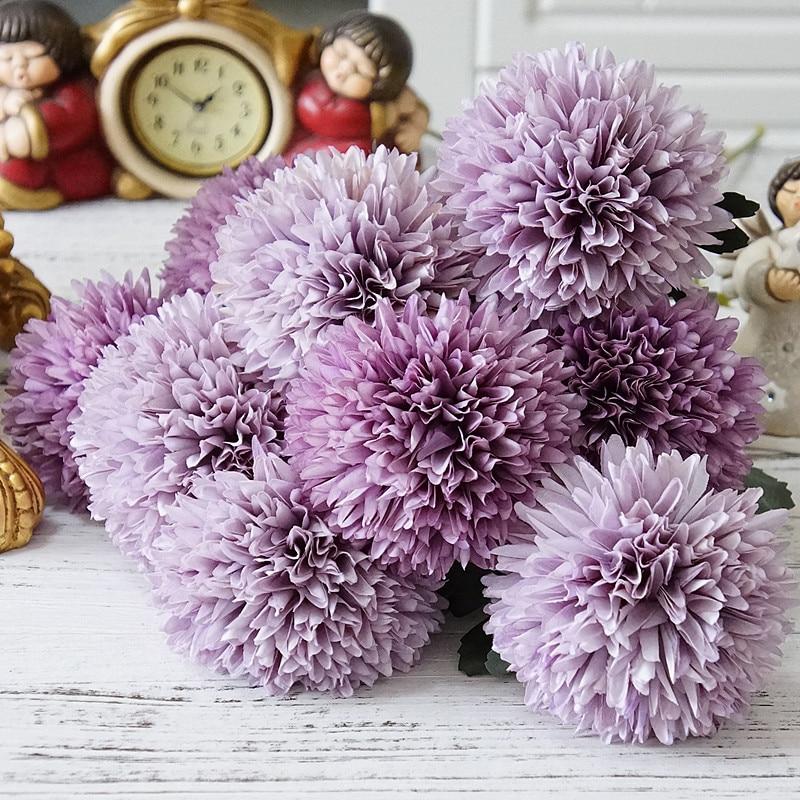 Flor Artificial de diente de león de seda bola rama hogar boda decoración flores falsas arreglo floral