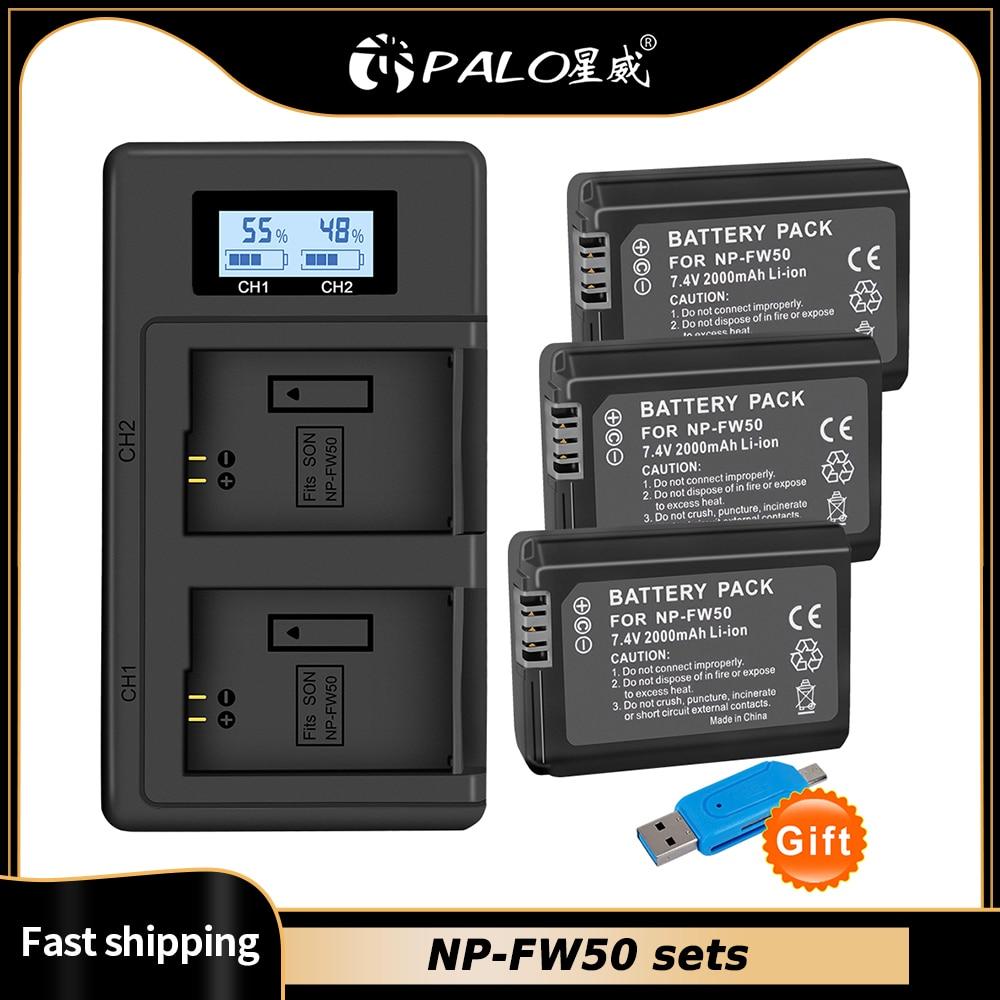 PALO 2000mAh NP-FW50 np fw50 batería akku + LED cargador Dual USB...