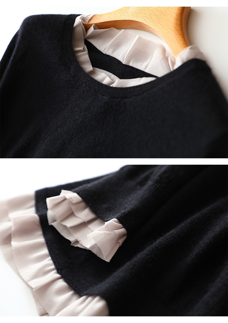 New Autumn French Style Ruffles Newest Womens Designer Sweater with Long Sleeve Women Sweater and Pullovers Knit Sweater Female enlarge