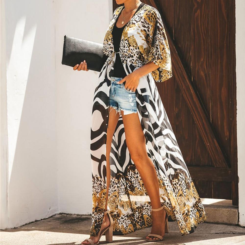 Beach Cover Up Sexy Leopard Beach Dresses Women's Tunnic Chiffon Cardigan Dress Robe Summer Cover Ups Dress