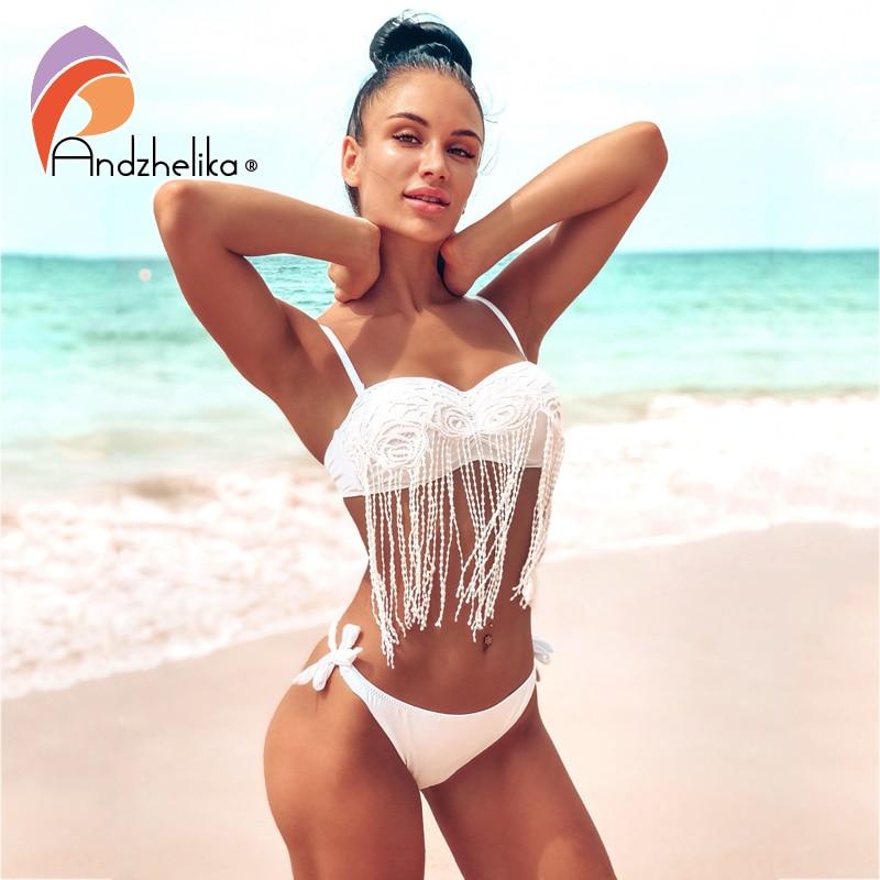 Andzhelika, Bikinis con borla de flores de encaje, traje de baño para mujer, juego de bikini estilo push up, verano 2020, traje de baño de cintura baja, traje de baño brasileño