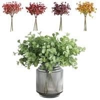 artificial plastic fake flowers 5 sticks eucalyptus simulation bouquet home decoration wedding party