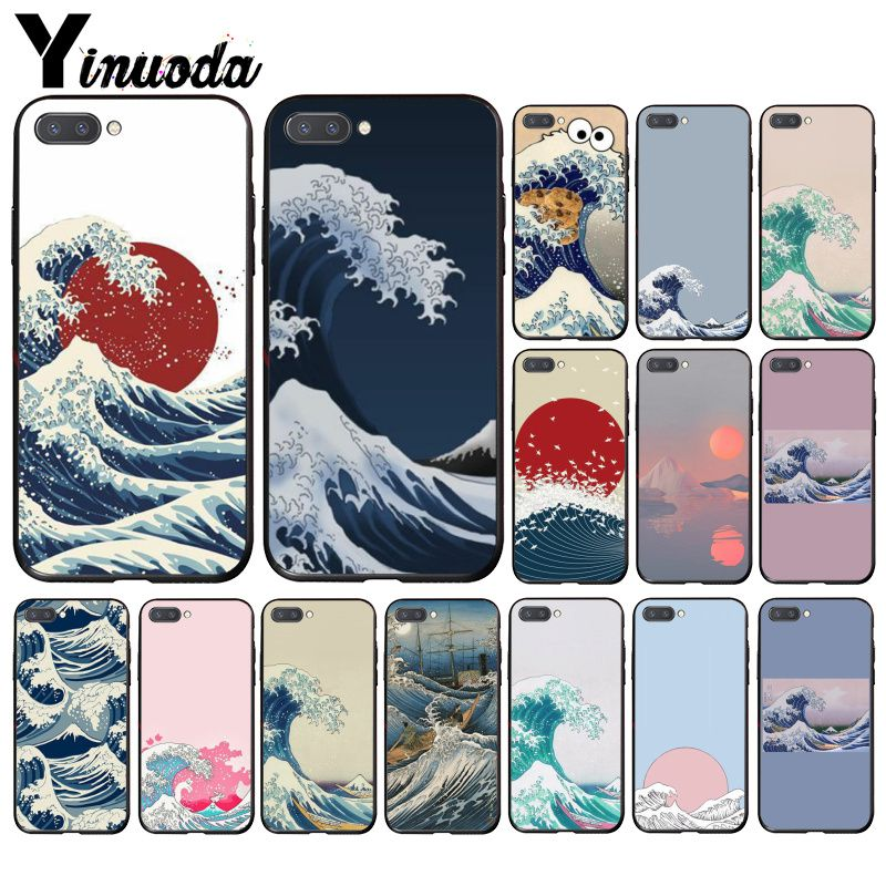 Funda de móvil clásica de ilustración verde Japonesa de Arte de ola Yinuoda para Huawei Honor 8A 8X 9 10 20 Lite 7A 5A 7C 10i 9X pro Play 8C