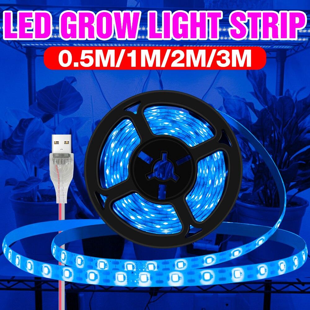 Светодиодная ленсветильник для выращивания растений, комнатная фитолампа полного спектра с USB, Диодная лампа для теплицы и гидропоники, УФ ...