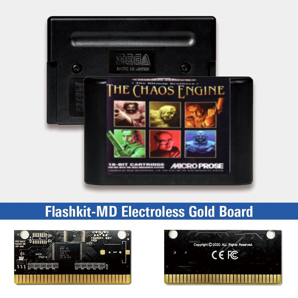 El caos del motor-EUR etiqueta Flashkit MD químico oro de tarjeta PCB...