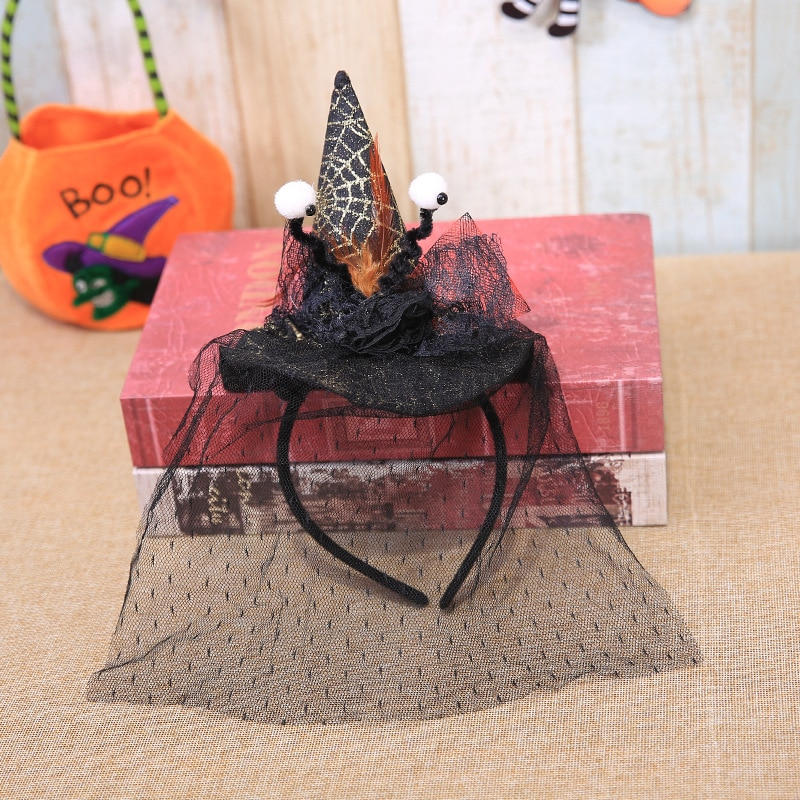 Halloween Hats Wizard Top Hat Eyeball Spider Web Veil Feather Headband Witch Cosplay Headdress Party Props Costume Fancy Dress