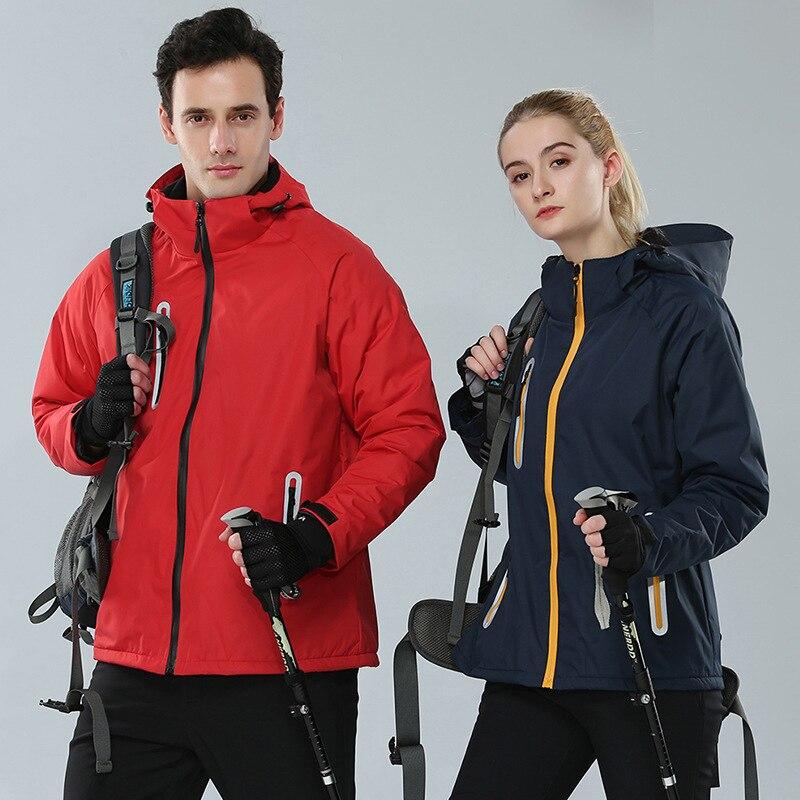 Логотип на заказ, мужские и женские зимние куртки для улицы, водонепроницаемые, ветронепроницаемые, плюс бархатные термопальто, куртки для ...