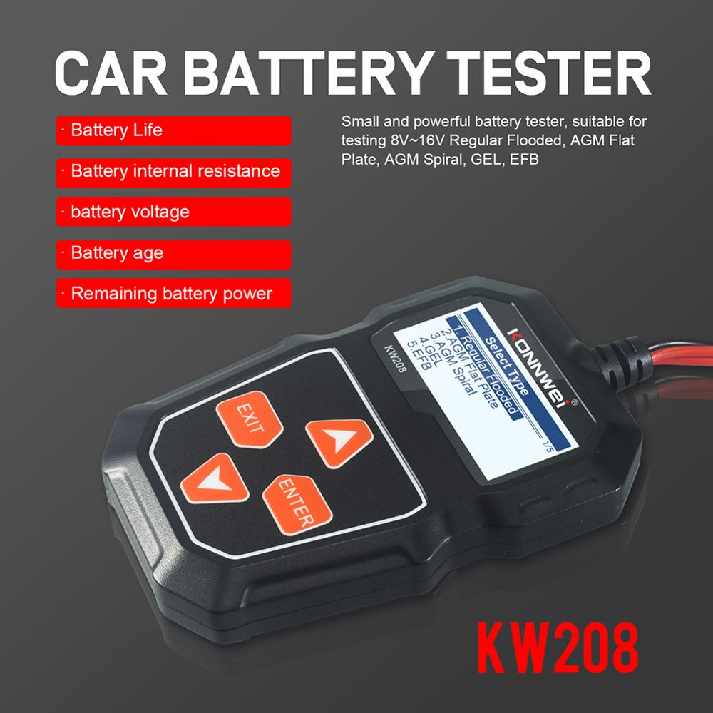 KW208 Car Battery Tester Portable Automotive Battery Cranking and Charging System Test Scan Tool with LCD Screen