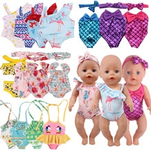 Doll Swim Clothes Flamingo Mermaid Swimsuits Fit 18 Inch American of Girl`s&43Cm Baby New Born Doll