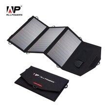 ALLPOWERS-cargador Solar de 18V y 21W, Panel Solar impermeable, plegable, para de 12v batería de coche, teléfono móvil, senderismo al aire libre