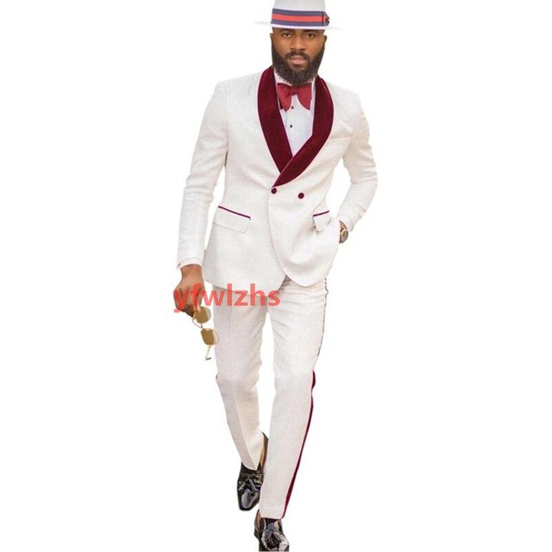 New Arrival Embossing Groomsmen Shawl Lapel Groom Tuxedos Men Suits Wedding/Prom Best Blazer ( Jacket+Pants+Tie) D06