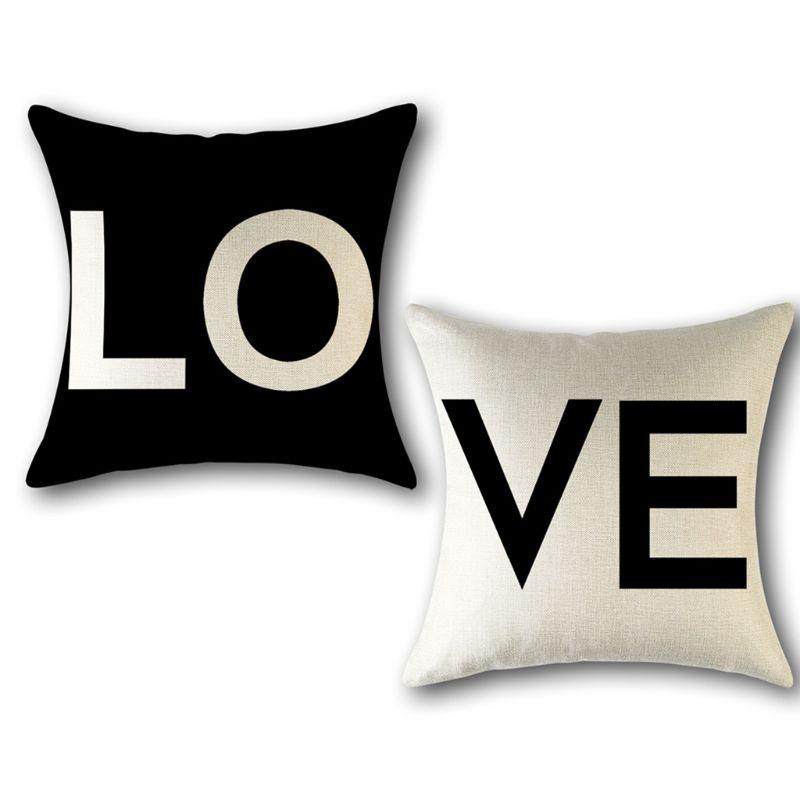 Fundas de cojín con frases románticas de regalo romántico para el Día de San Valentín, Fundas de cojín decorativas para sofás, Juego de 2 de 18x18, Valen
