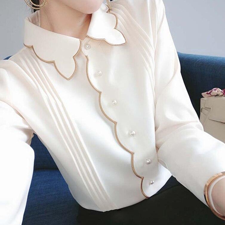 Новинка Весна 2021, модная Однотонная рубашка с длинным рукавом, шифоновая рубашка с кружевным воротником, женская модная одежда, женская оде...