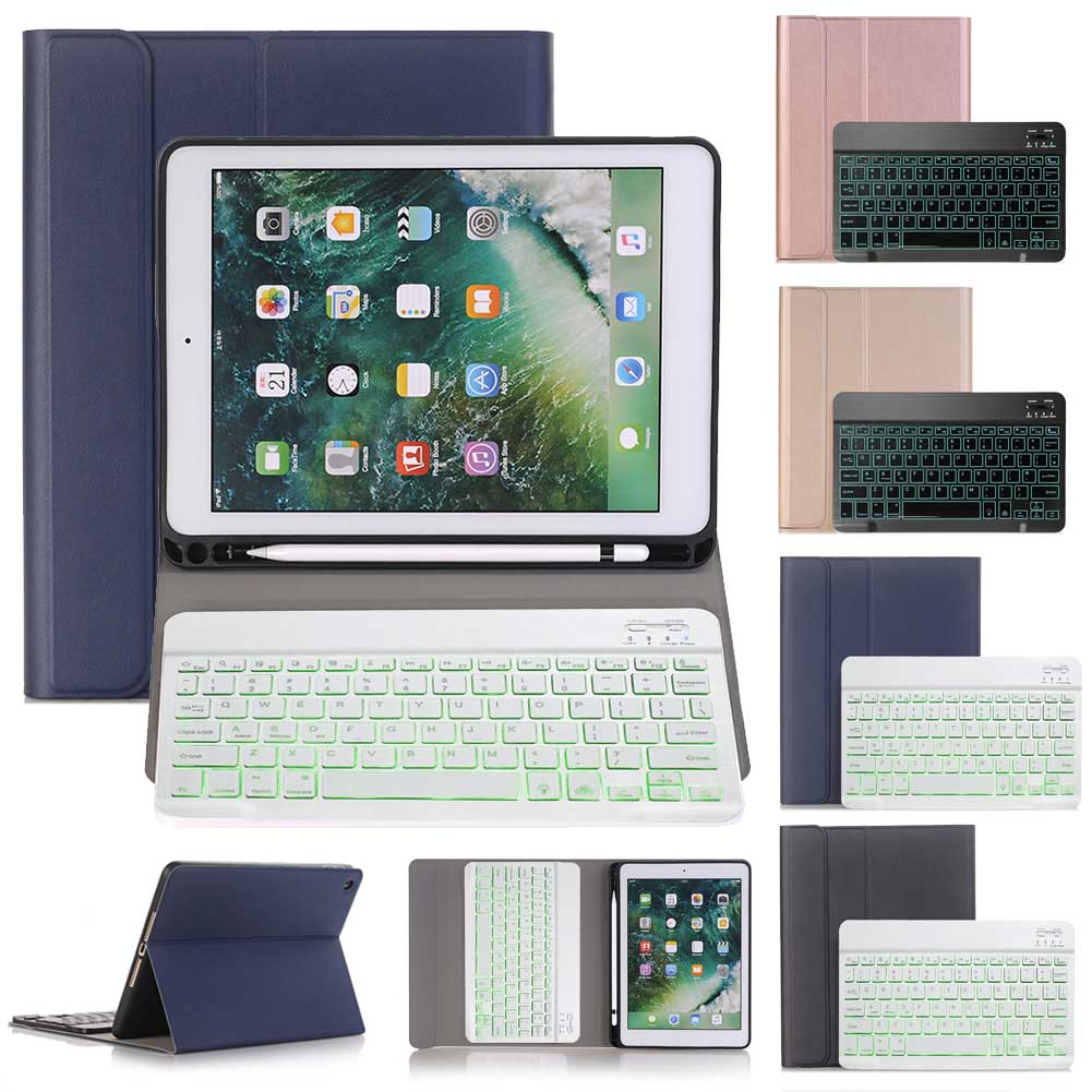 حافظة لوحة مفاتيح لاسلكية لجهاز iPad ، 10.2 بوصة ، 2019 بوصة ، جلد PU ، مع حامل قابل للطي ، لجهاز iPad 7th Gen 10.2 بوصة ، لوحة مفاتيح بلوتوث بإضاءة خلفية
