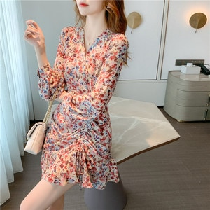 2020 autumn new style niche long-sleeved chiffon floral dress for small girl fashion temperament elegant dress soft fairy S - L