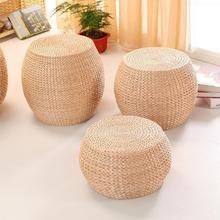 Natural palha artesanal almofada sala redonda tatami mudança de madeira sapatos fezes pequena mesa café banco madeira