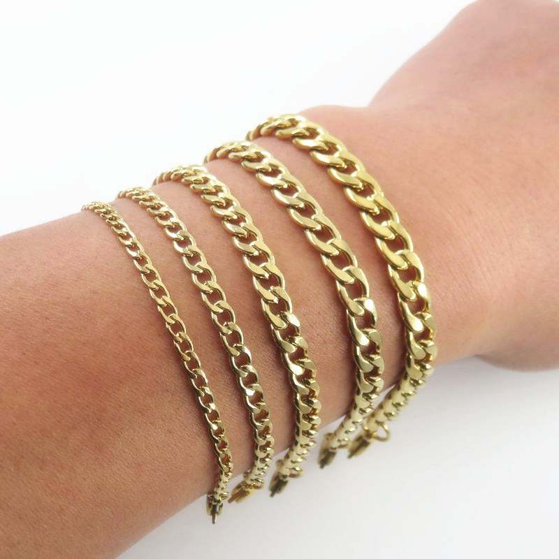 Gold-color 3/4/5/6/7mm  Stainless Steel Rolo Chain Bracelet, Men's Women's Bracelet, Fashion Jewelry Accessories