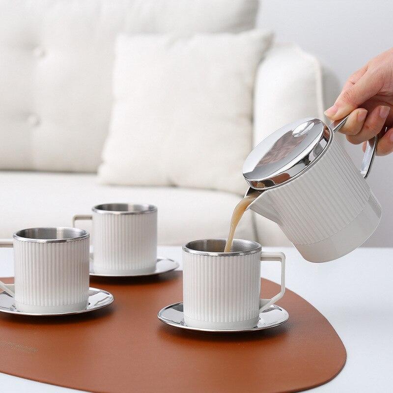 طقم شاي من الفولاذ المقاوم للصدأ 304 مع فلتر إبريق شاي الكونغ فو مع 3 قطع أكواب شاي