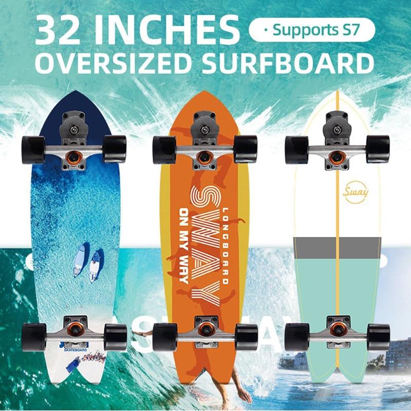 32'' Surf Skate Board Large Maple Deck S7 Truck Complete Surfskate Skateboard Outdoor Carving Surfing Cruiser Board Longboard