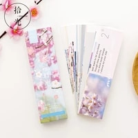 30pcsset beautiful japanese style bookmarks message card vintage book notes paper page holder for books stationery teacher gift