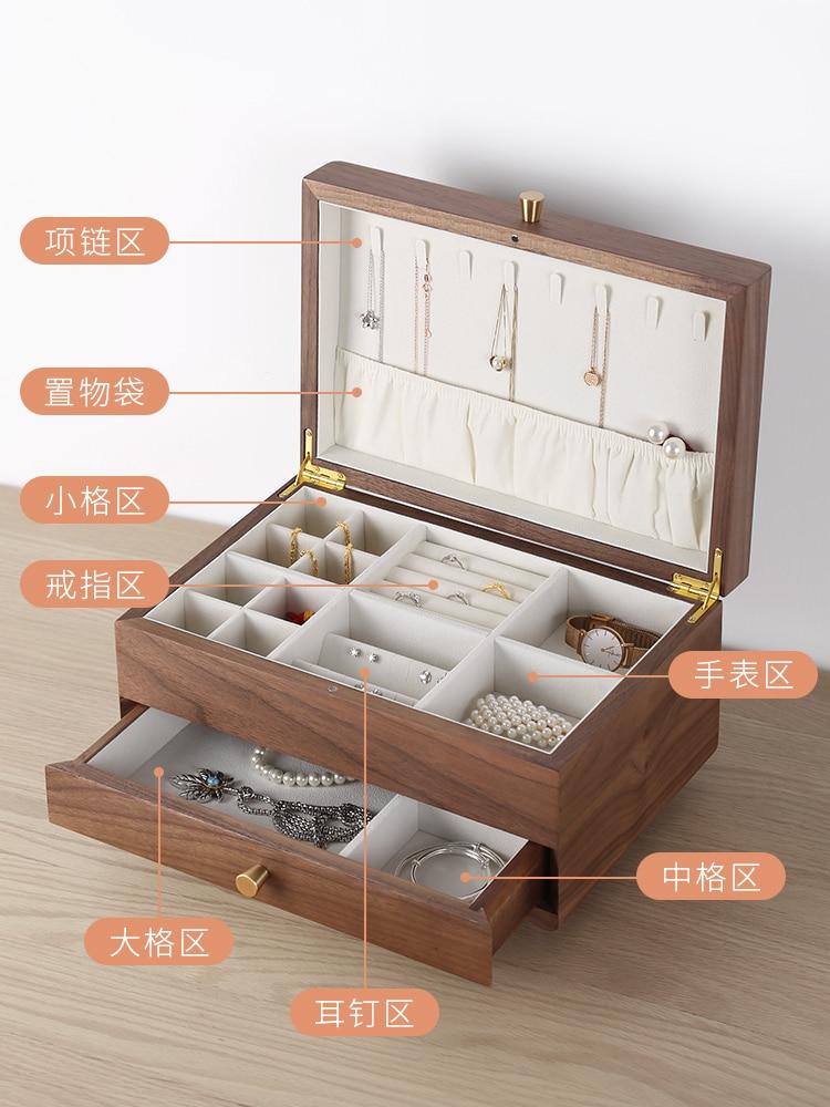 صندوق مجوهرات خشبي درج نمط خشب متين أقراط قلادة حلية صندوق تخزين طبقة مزدوجة سعة كبيرة