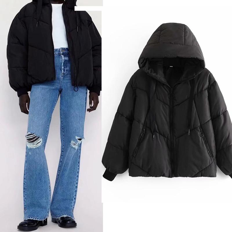 2021 الشتاء Zar الملابس النسائية فضفاضة بسيطة سميكة الدافئة القطن معطف مبطّن سستة الإناث مقنعين سترة القطن Casaco Feminino