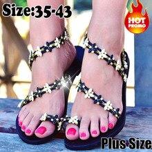 2019 grande taille string sandales été femmes tongs tissage décontracté plage plat trèfle chaussures Rome Style femme sandale talons bas