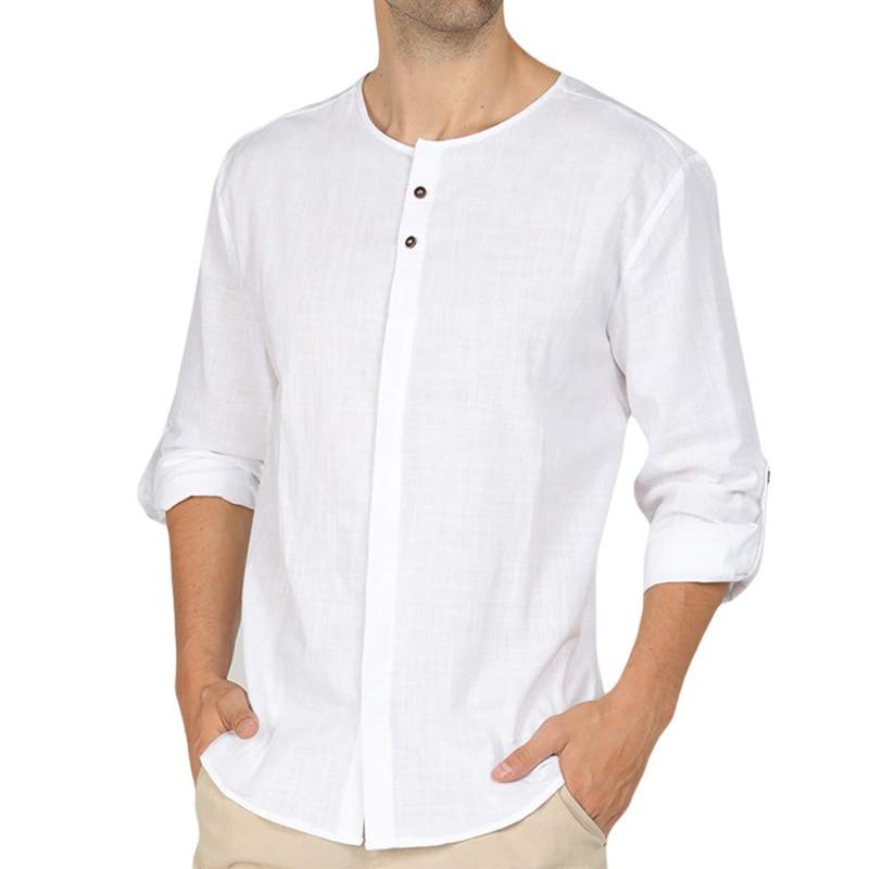 Masculino casual v pescoço algodão linho 3/4 manga camisas hippie colarinho com pulseira henley topos com botões