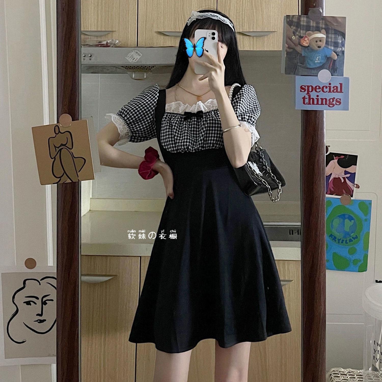 HOUZHOU Maid Dress Summer Black Kawaii Plaid Short Sleeve Mini Dresses Women Sweet Cute Lace Moda Feminina Verao 2021