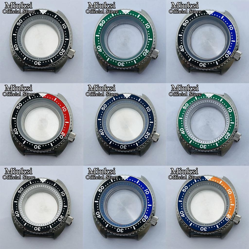 Miuksi 45mm prata caso estéril safira vidro preto vermelho azul moldura caber nh35 nh36 movimento