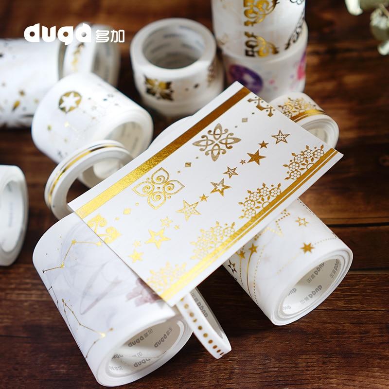 Papel de oro estampado estrellas encaje mariposa borde decoración Washi cinta DIY planificador Scrapbooking cinta adhesiva