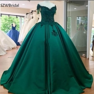 New Arrival V Neck Ball gown evening dresses 2021 Green formal dress Party Lace Beading Long evening dress Plus size