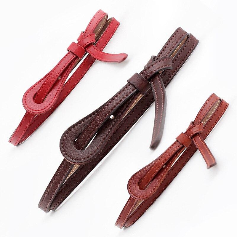 Cinturón de cuero de vaca para mujer, estilo ins, decoración simple a la moda con falda, abrigo de lana, cuerda de cintura estrecha anudada, tamaño 105-120*1cm