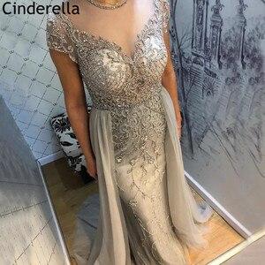 Crystal Prom Dresses Luxury Scoop Cap Sleeves Sweep Train Tulle Prom Dresses With Zipper Back vestidos de fiesta de noche