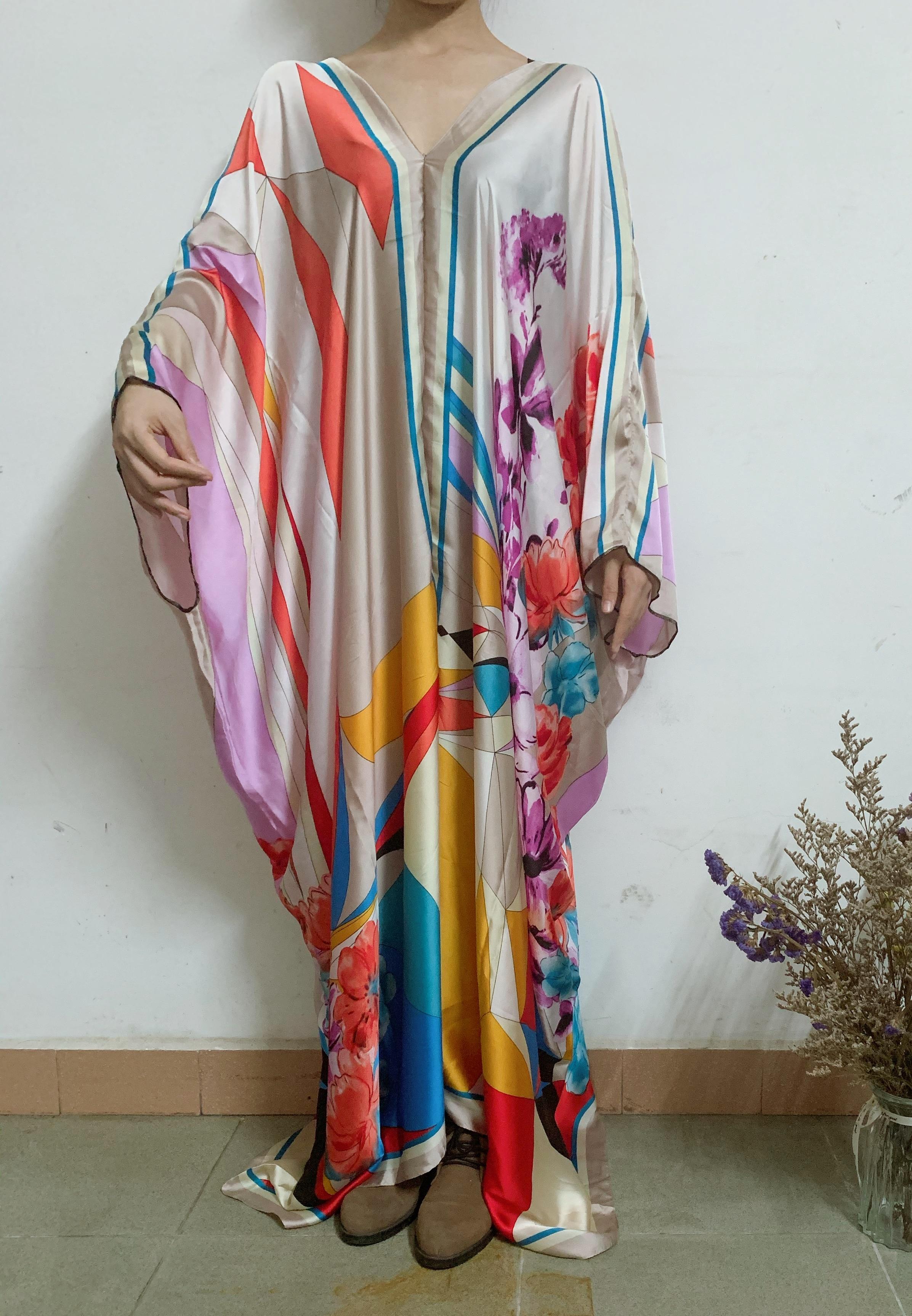 Женское шелковое платье-кафтан, эксклюзивное летнее платье в европейском стиле с v-образным вырезом, в африканском стиле