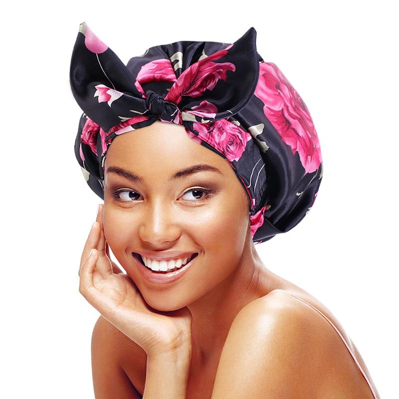Waterproof Bath Hat Luxury Satin Shower Cap With Tie Adult Women Shower Hair Cover Supplies Bathroom Accessories Kitchen Hat